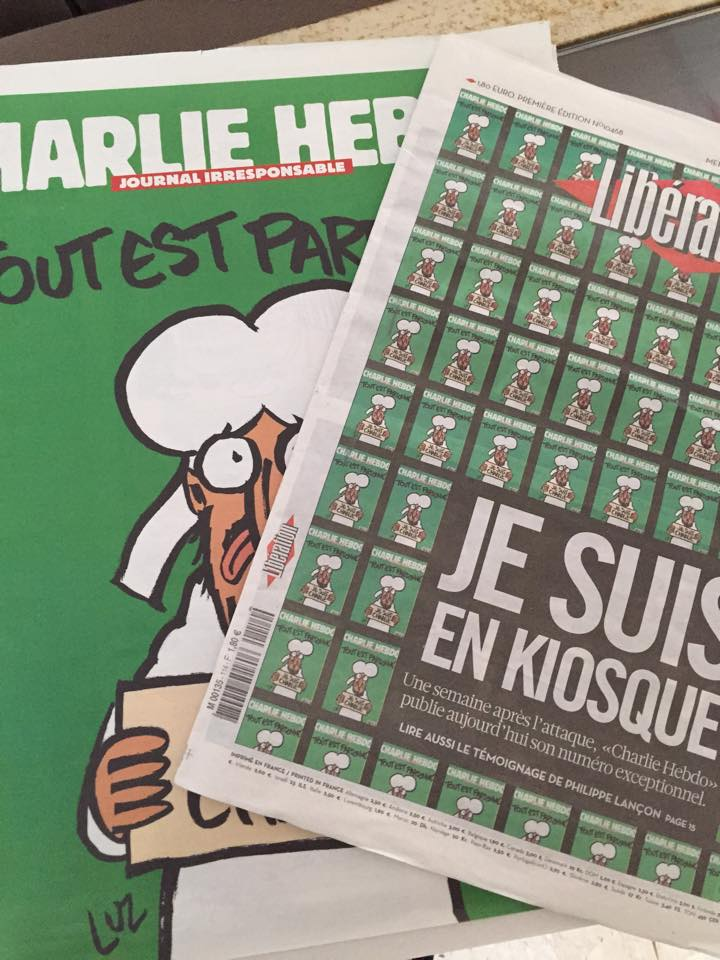 """""""Nájdete v novinových stánkoch,"""" hlásila titulka denníka Libération. FOTO - Lucia Busquet"""