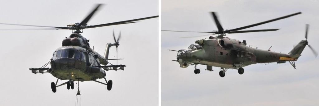 Vrtuľníky MI-17 (vľavo) používa armáda na prepravu materiálu aj hasenie požiarov. Útočný stroj MI-24 (vpravo) Slovensko vyradilo v roku 2011. Foto - TASR