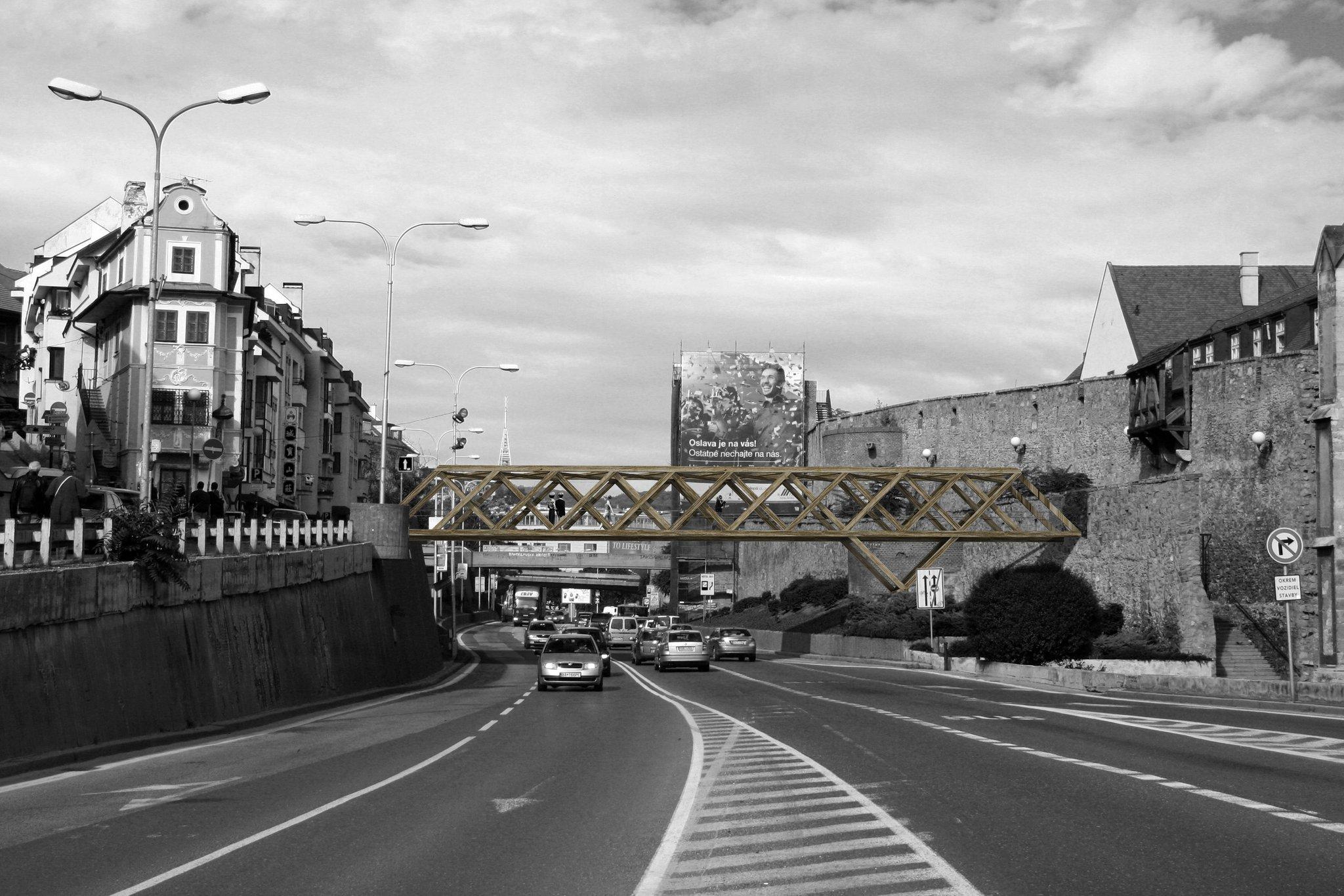 Mestské zásahy Bratislava 2008. Ilja Skoček, Rado Zelik - Drevený most.