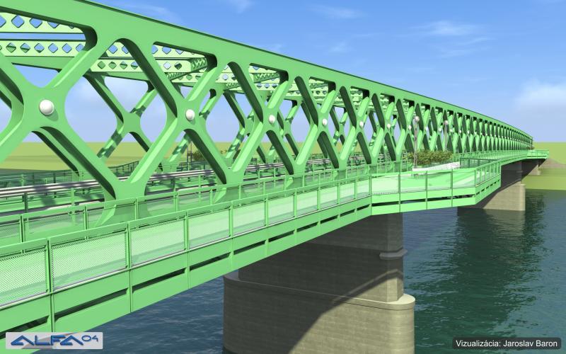 Nový starý most. Dĺžka 454,7 metra. Po rekonštrukcii dosiahne max. rozpätie 137,2 metrov, zväčší sa kvôli pohodlnejšej plavby. Vizualizácia - Eurovia