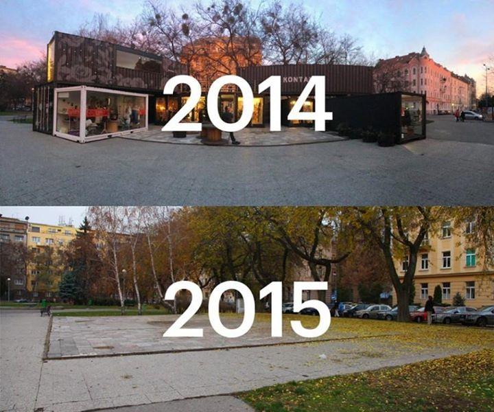 Kontajnery zmiznú, a s nimi aj nová identita námestia. Foto - Karol Kolčár.