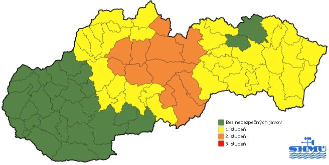 Aktuálne výstrahy pred snehom, vetrom a dažďom (SHMÚ)