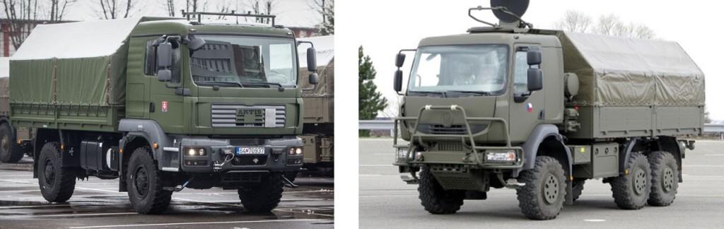 Aktis (vľavo) a Tatra 810 plnia v armáde úlohy takzvaných stredný terénnych vozidiel.