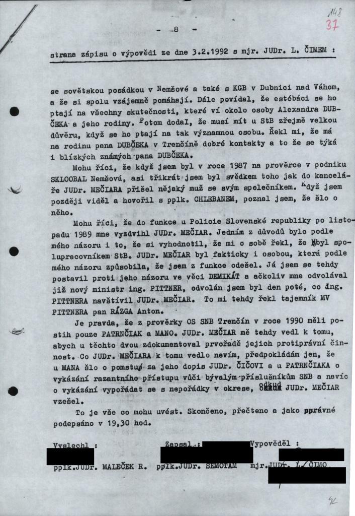 Zápis z výpovede Jána Mana. Foto - N