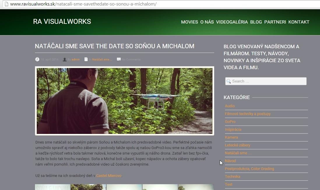 Umelecká agentúra RA Visualworks promuje natáčanie dronom na svojich stránkach. Licencia jej chýba.