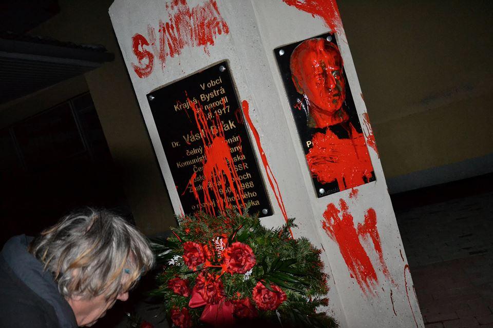 Biľakov pomník v Krajnej Bystrej. Foto – Facebook výtvarníka Petra Kalmusa