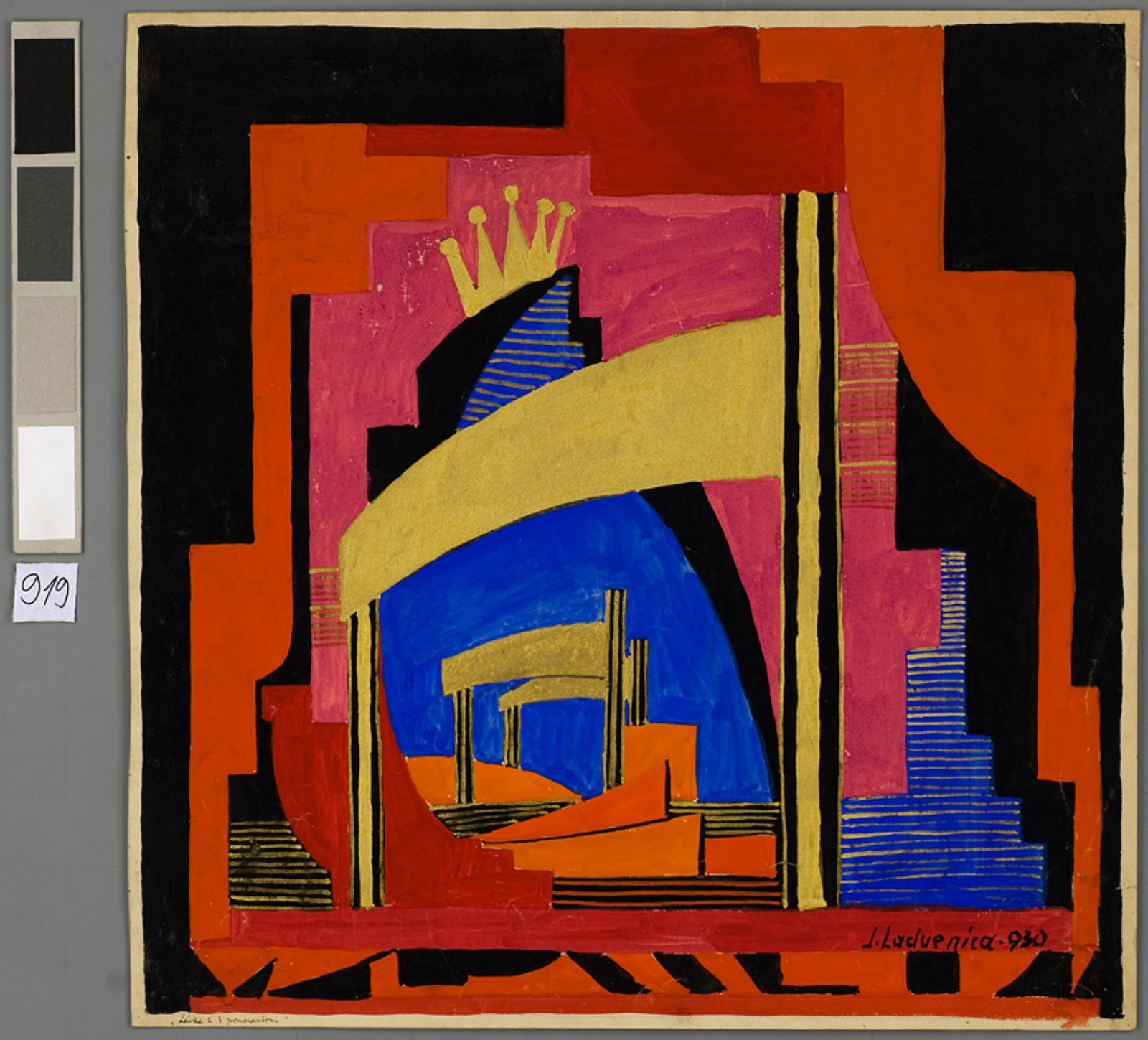 Scénický návrh Jána Ladvenicu kinscenácii opery Sergeja Prokofieva Láska ktrom pomarančom, 1931.