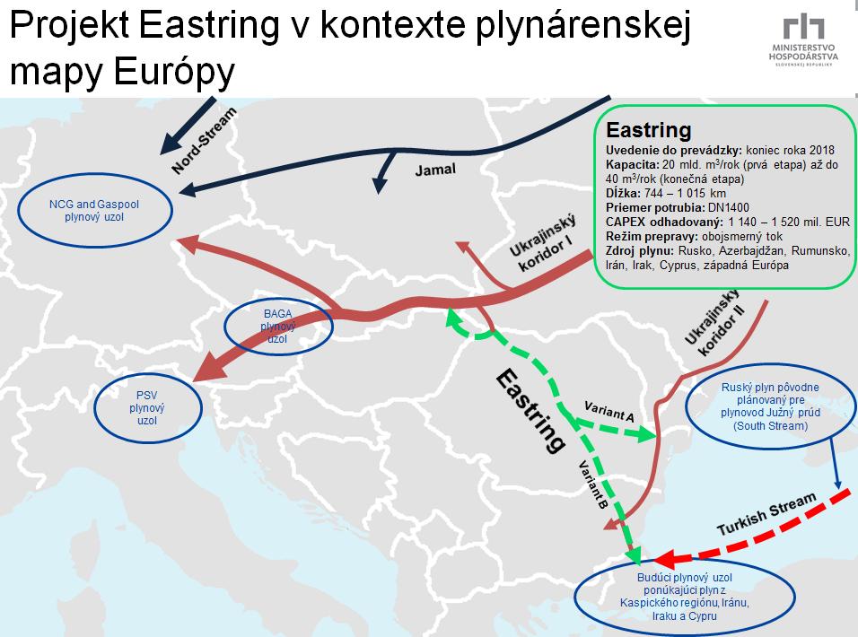 Takto predbežne vyzerá nový plynovod, ktorý by sa dotkol aj nášho územia. Zdroj: rokovanie.sk, marec 2015