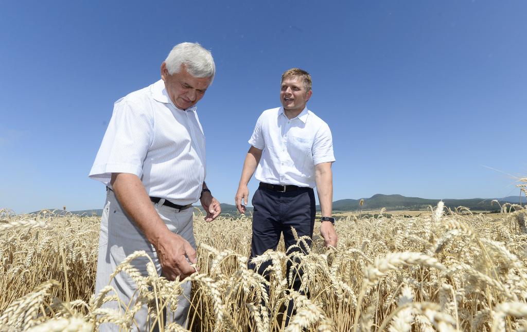 premiér SR Robert Fico a minister pôdohospodárstva a rozvoja vidieka SR ¼ubomír Jahnátek pole