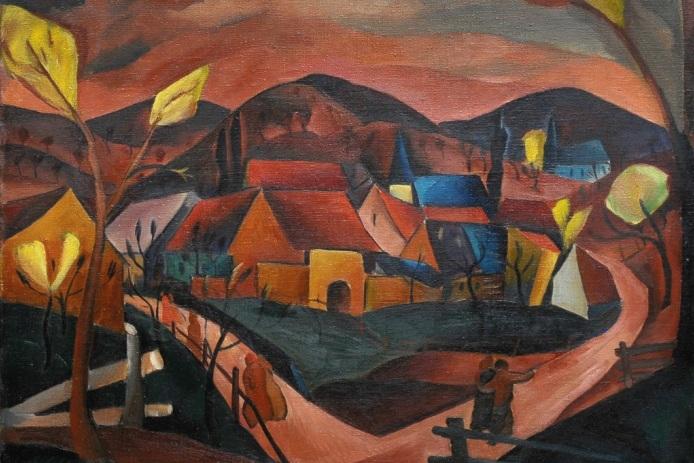 František Foltýn: Vesnice na rozcestí. 1922. Moravská galerie v Brně.