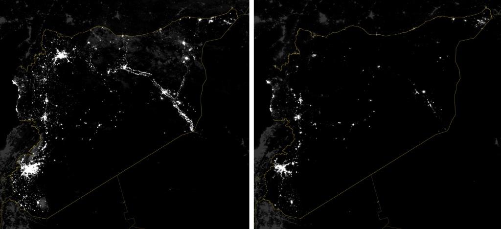 Sýria v noci: vľavo marec 2012, vpravo december 2014.