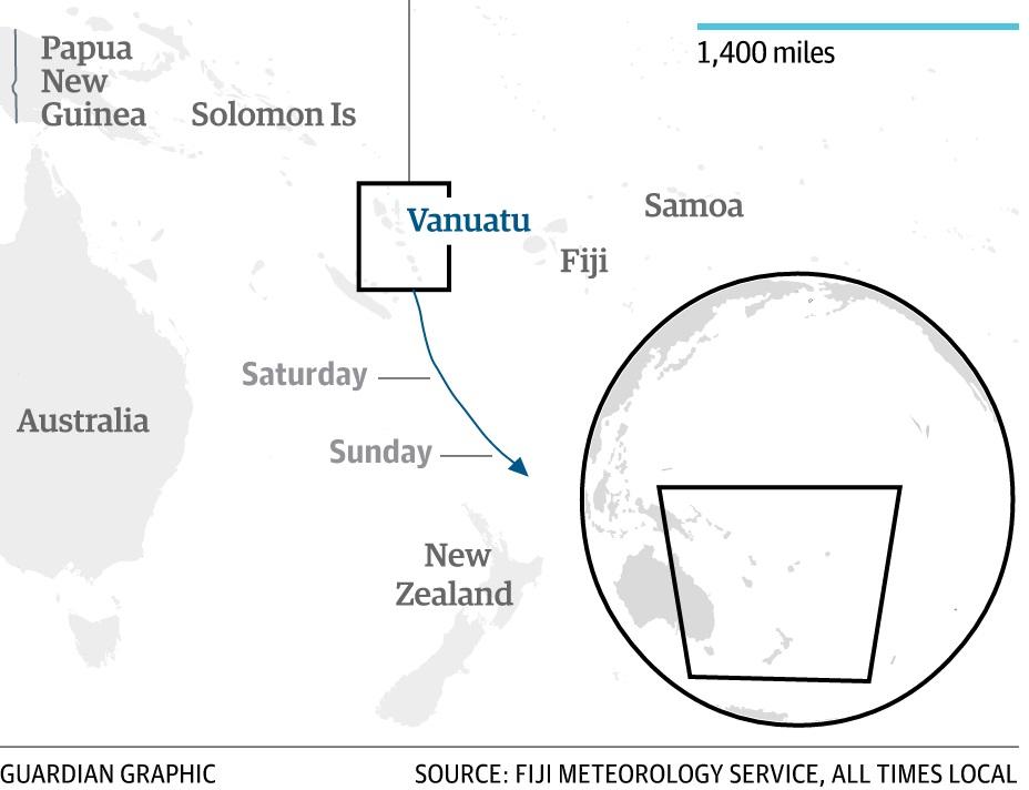 Smer cyklónu Pam. Zdroj: Guardian