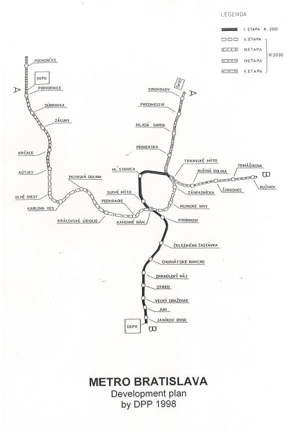 """Koncept ľahkého metra už bol """"skromejší"""". Merať mala 32 kilometrov, staníc malo byť 35. Foto - Archív P. Martinka"""