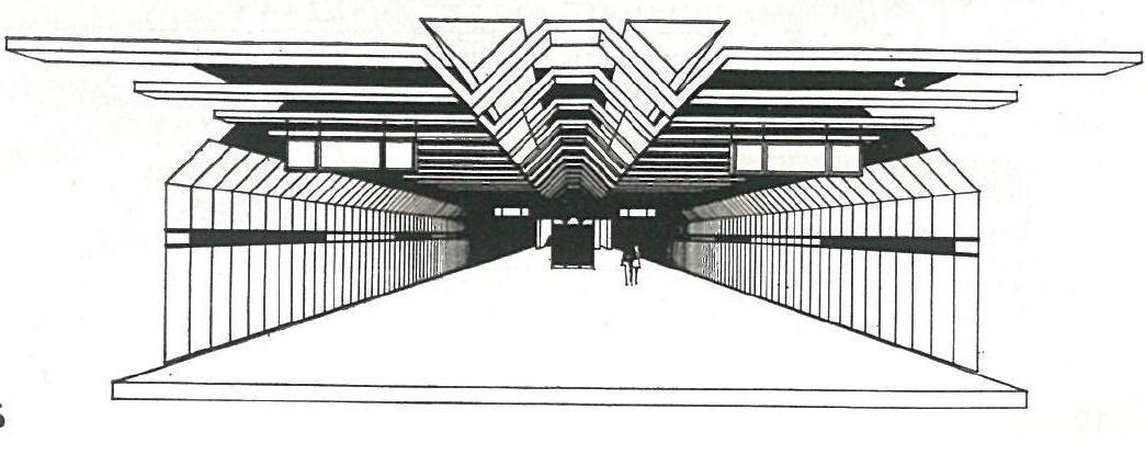 Vestibul stanice v Petržalke podľa predstáv z roku 1988. Foto - Archív P. Martinka