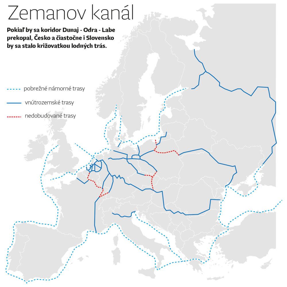 Kanál sa môže napojiť na európsku sieť významných tokov, aspoň teda na mape. Infografika - Denník N