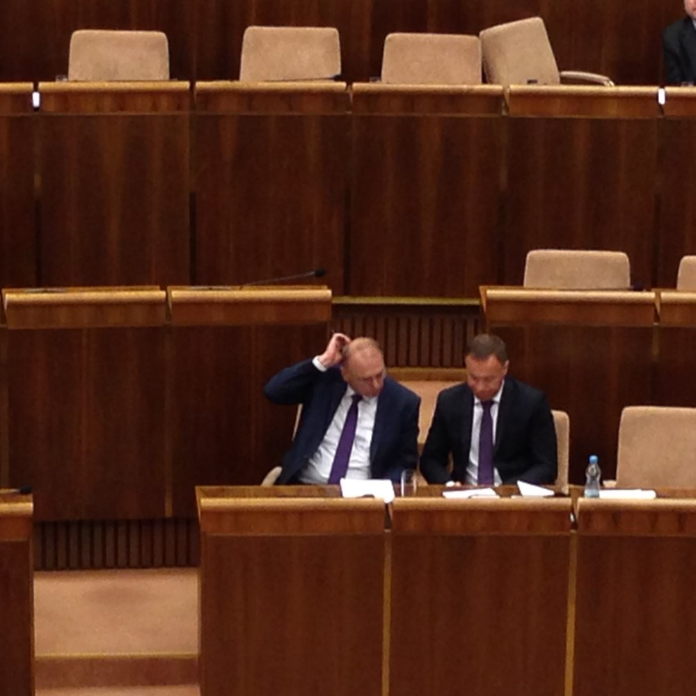 Minister dlho sedel v parlamente sám, prišiel ho podporiť Ľubomír Vážny. Foto N - Veronika Folentová