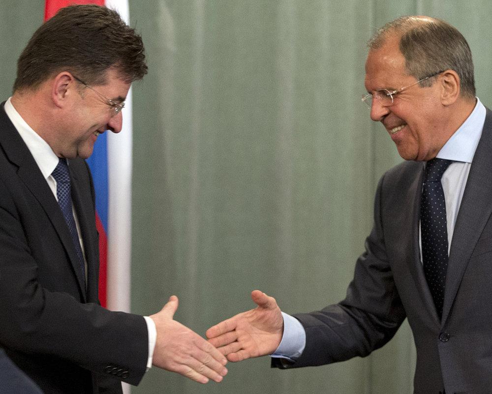 Miroslav Lajčák so Sergejom Lavrovom v Moskve. Foto - Tasr