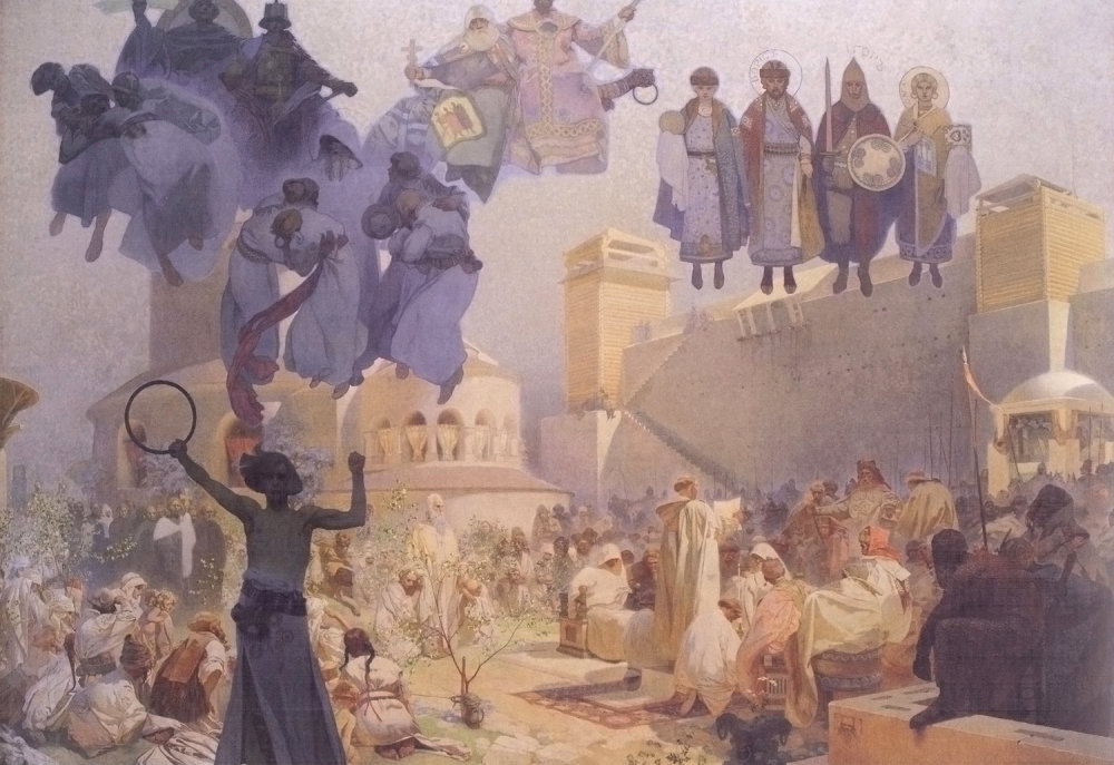 "Jakubiskova ""predloha"", Veľká Morava podľa Alfonsa Muchu. Foto - Wikipedia"