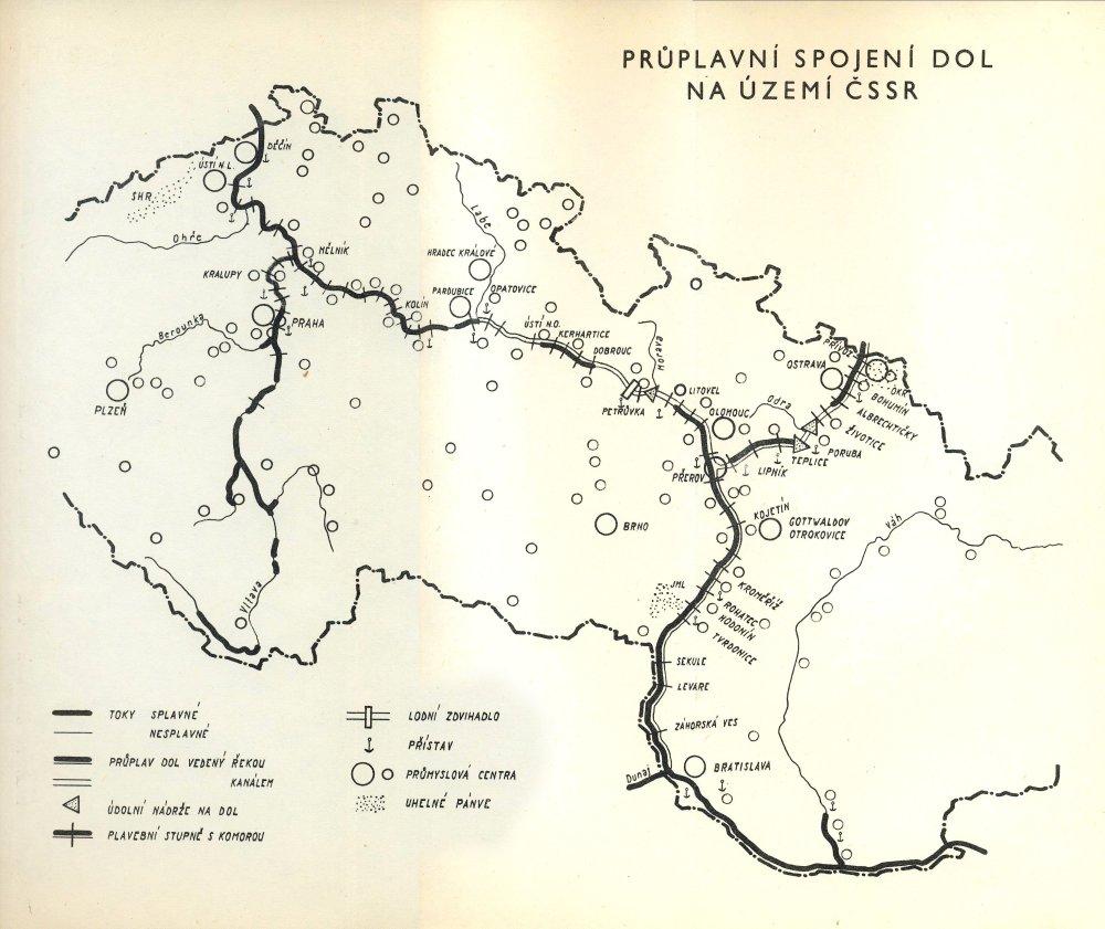 Kanál na plánoch zo šesťdesiatych rokov. Foto - www.d-o-l.cz