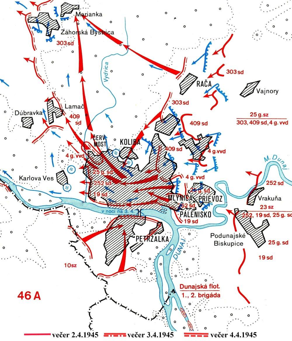 Od 2. apríla sa k Bratislave z troch smerov približovali sovietske vojská. 3. apríla večer Sovieti dobyli východ mesta, 4. apríla zvyšok a obsadili aj Petržalku. Bojovalo sa hlavne v okrajových častiach, stred mesta zostal takmer nepoškodený. Armáda potom postupovala smerom k Devínu a k Lamaču. Vojsko z Petržalky zasa na rakúsky Hainburg. MAPA - VOJENSKÝ HISTORICKÝ ÚSTAV