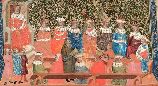 Jedno z najstarších vyobrazení Svätopluka na Arnulfovom dvore v Dalimilovej kronike zo 14. storočia. Svätopluk je v strede obrazu v mníšskom rúchu. Foto - Wikimedia