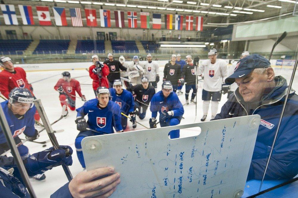 Tréner Vladimír Vùjtek rozdáva pokyny pred Dánskom. Foto - TASR