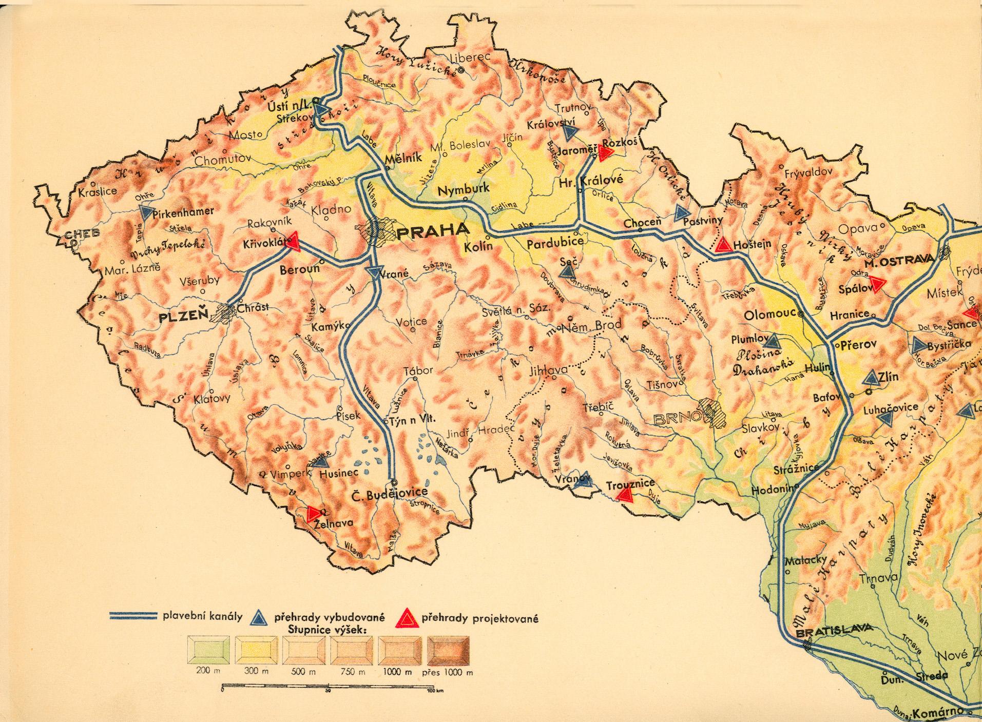 Kanál Dunaj - Odra - Labe, ako ho vo svojej knihe z roku 1937 načrtol podnikateľ Jan Antonín Baťa. Foto - www.d-o-l.cz