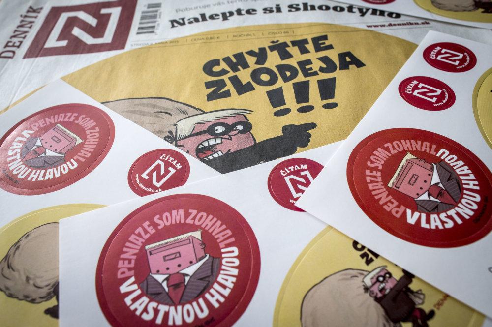 Shootyho nálepky, pre ktoré Fico zakázal ministrom komunikovať s Denníkom N. foto N - Tomáš Benedikovič