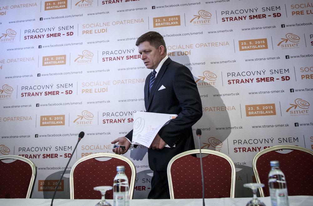 Predseda Robert Fico počas tlačovej besedy po pracovnom sneme strany Smer. Foto N - Tomáš Benedikovič