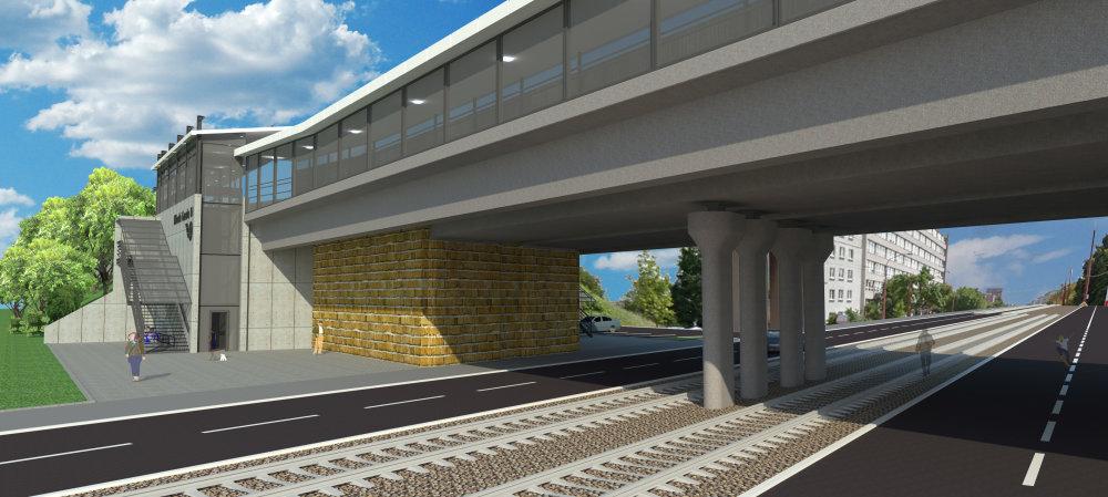 Zastávka Mladá garda bude patriť k tým najzložitejším, počíta sa rozšírením železničného mostu. Vizualizácia - Reming