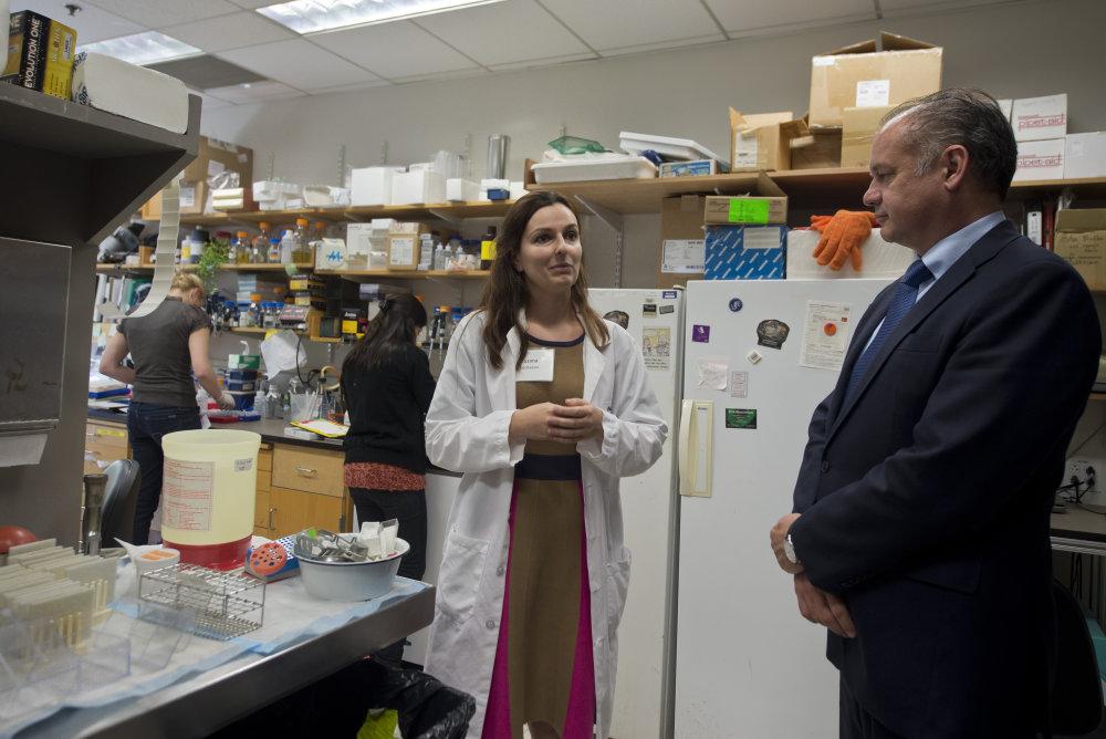 Na snímke vpravo prezident SR Andrej Kiska poèas návštevy Whitehead Institute of Biomedical Research a v¾avo úspešná slovenská výskumníèka Zuzana Keèkešová, ktorá hlavu štátu po laboratóriách organizácie sprevádzala 26. septembra 2014 v Bostone. FOTO TASR - Martin Baumann