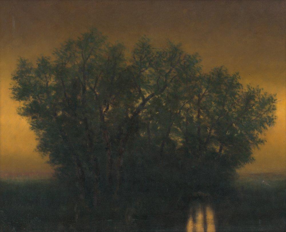 Ladislav Mednyánszky: Podvečer, okolo 1880 - 1895. Galéria umenia Ernesta Zmetáka.