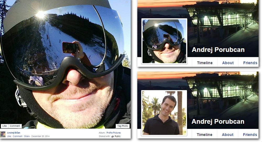 Andrej Bičan zverejnil svoju fotku na Facebooku v decembri 2014. Od 19. apríla 2015 ju ako svoju profilovku používal falošný účet Andreja Porubčana. Ten od 21. mája vystupuje pod úplne novou fotkou.