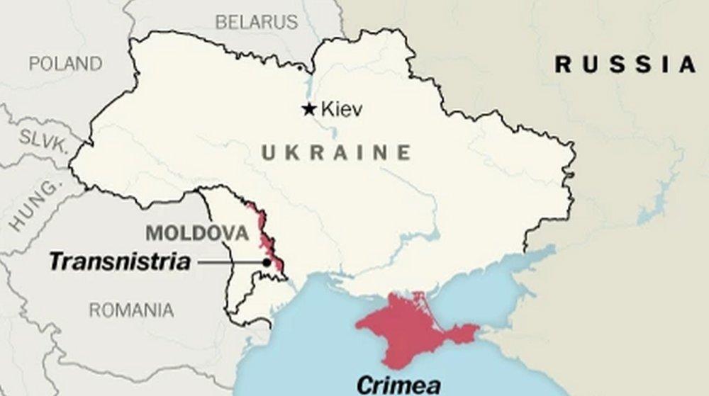 Podnestersko na mape (v angličtine Transnistria). Zdroj: Washington Post)