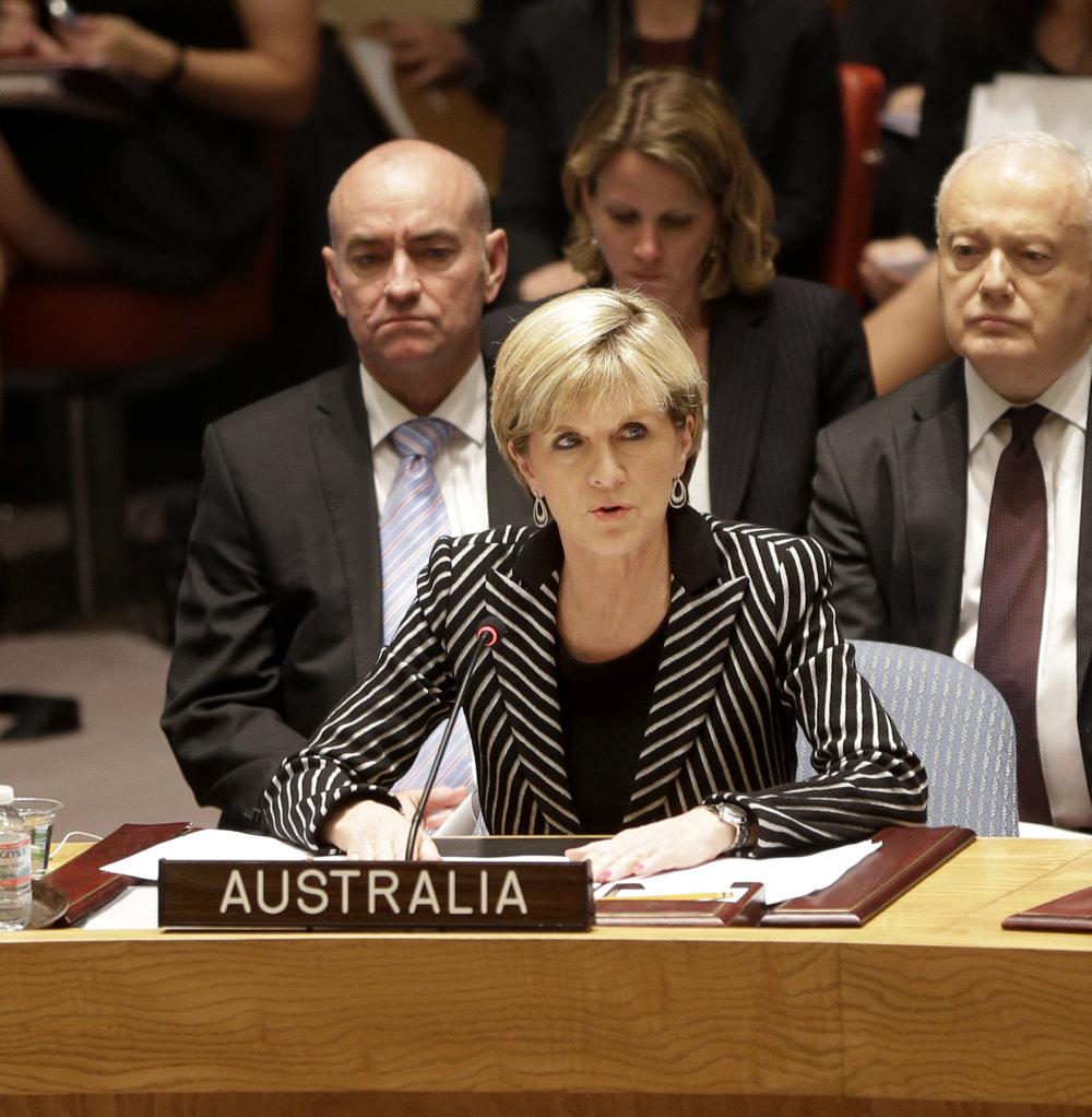 Fotografia z minulého roka: Austrálska ministerka zahraničných vecí Julie Bishopová na pôde OSN po schválení rezolúcie o vyšetrení havárie MH17  na východe Ukrajiny. FOTO - TASR/AP