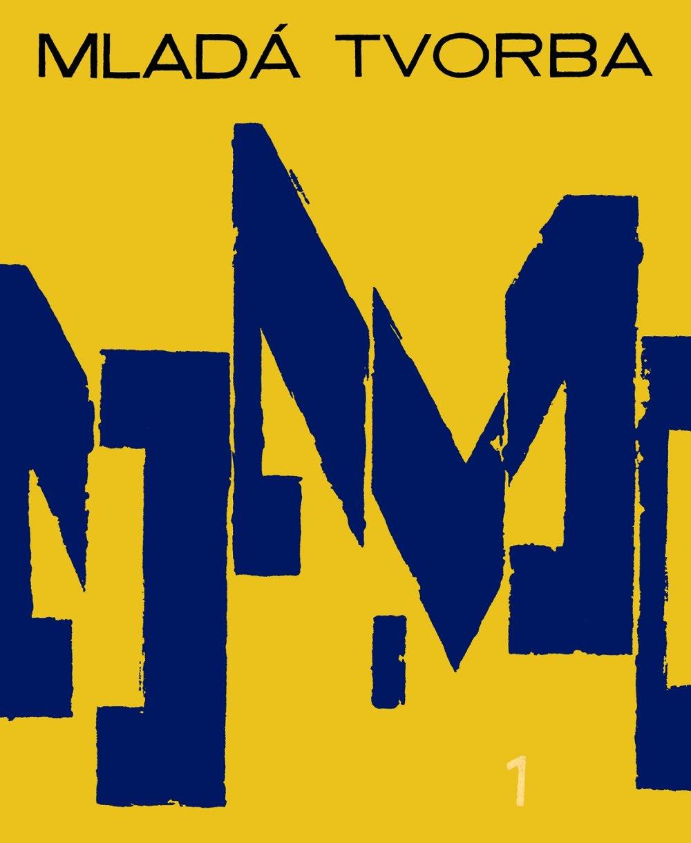 Motív M, typografická obálka Mladej tvorby od Miloša Urbáska, číslo 1, 1966, archív SMD.