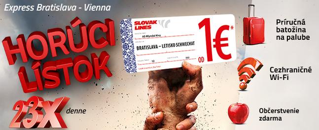 Lístky za jedno euro sľubuje Slovak Lines na svojich stránkach i na plagátoch v bratislavskej MHD.