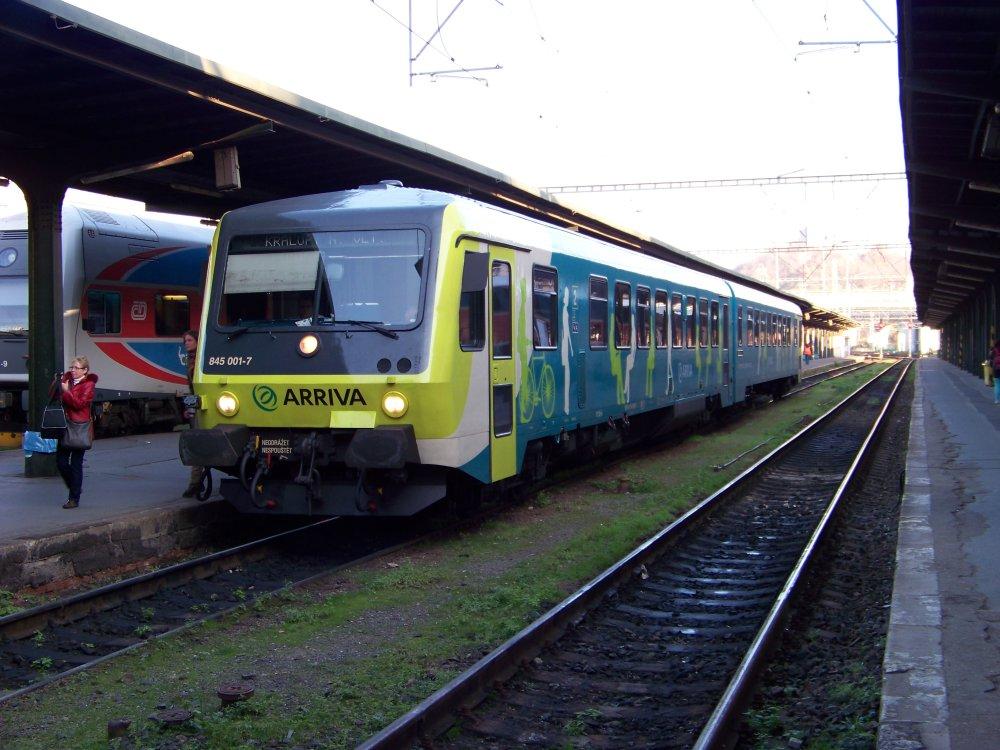 Nemeckú motorovú jednotku radu 845 si už Arriva vyskúšala na niekoľkých tratiach v Česku. Foto - Wikipedia