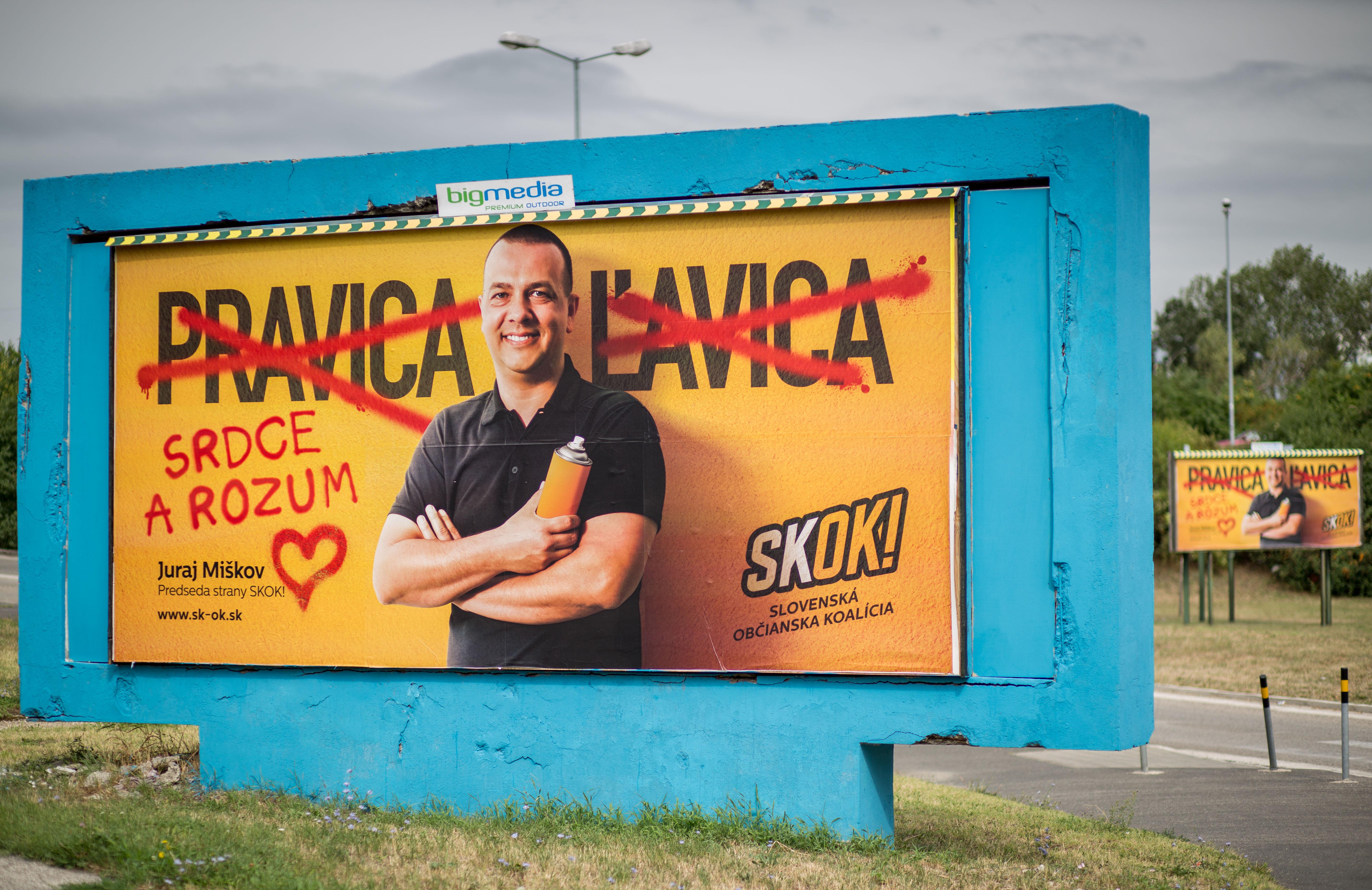 Predvolebný bilbord strany Skok. Foto N – Tomáš Benedikovič