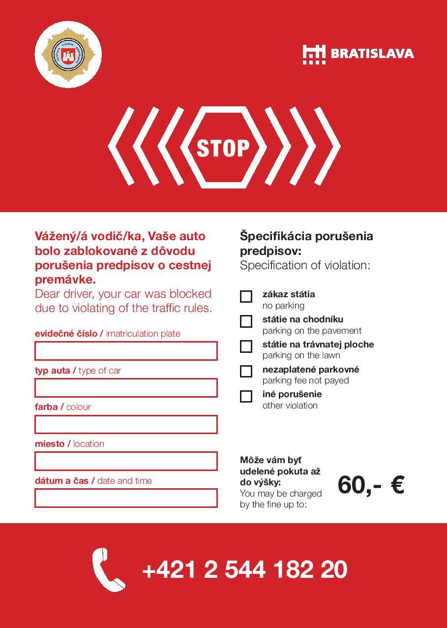 Za zlé parkovanie zaplatíte 60 eur, oznam by teda mohol vyzerať napríklad takto a nie ako kus neidentifikovateľného papiera.