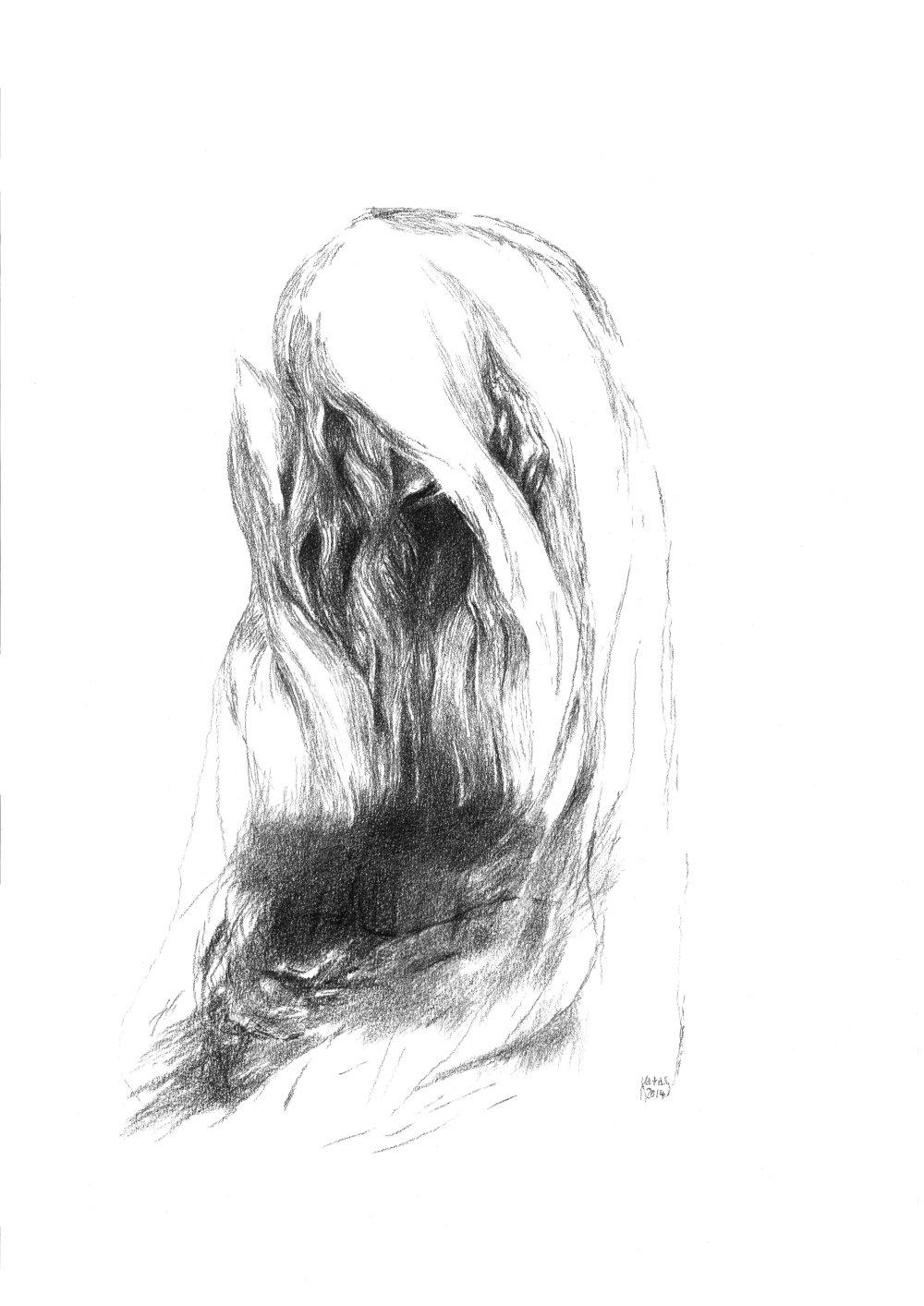 Krehká, 2014, kresba uhľom, 240x297mm