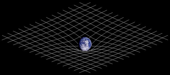 """Dvojrozmerné zobrazenie zakrivenia časopriestoru. Prítomnosť hmoty mení geometriu časopriestoru a táto (zakrivená) geometria je interpretovaná ako gravitácia. FOTO - """"Spacetime curvature"""". Licensed under CC BY-SA 3.0 via Wikimedia Commons - https://commons.wikimedia.org/wiki/File:Spacetime_curvature.png#/media/File:Spacetime_curvature.png"""