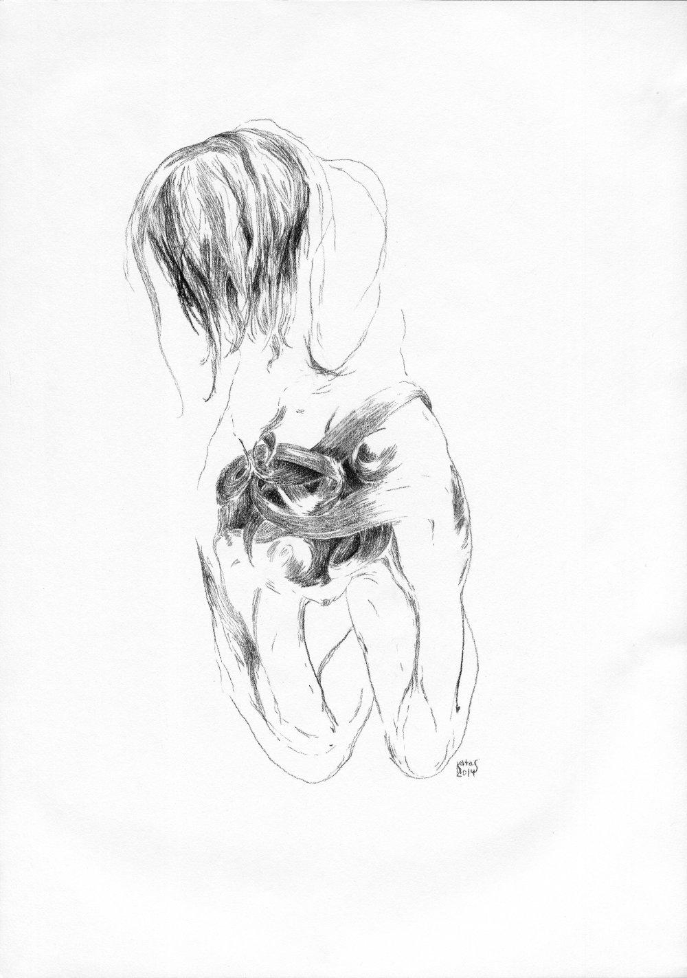 Stred žhavých pavučín, 2014, kresba uhľom, 420x297mm