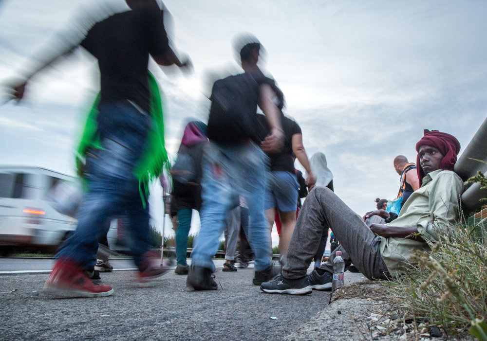 pochod utečenci migranti Bdapešť