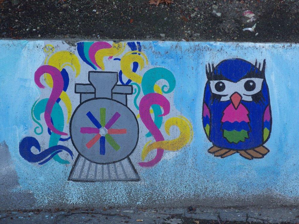 Bratislava Hlavná stanica (2014): Zamaľovanie schátraných častí Hlavnej stanice v Bratislave insitnými maľbami s nekonzistentným námetom. Nakoniec boli mnohé zamaľované sivou farbou.