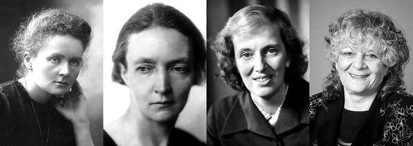 Všetky štyri laureátky ceny za chémiu. Zľava Maria Curie, Iréne Joliot-Curie, Dorothy Hodgkin a Ada Yonath. FOTO - Twitter účet The Nobel Prize