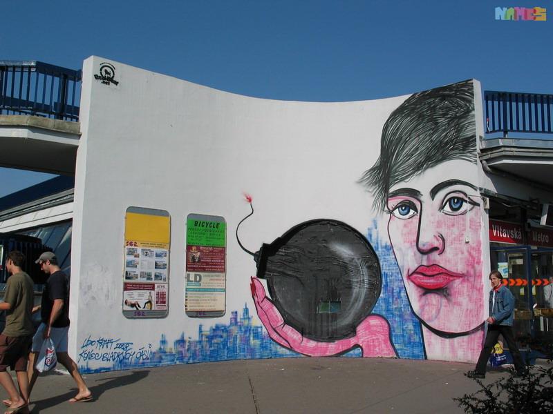 Jan Fišera - sklenená vitráž Vltava (1983): Kruhová sklenená vitráž pre zástavku metra Vltavská v Prahe. S podporou Dopravného podniku a vtedajšieho primátora bola zamaľovaná – (Žena s bombou - 2008).