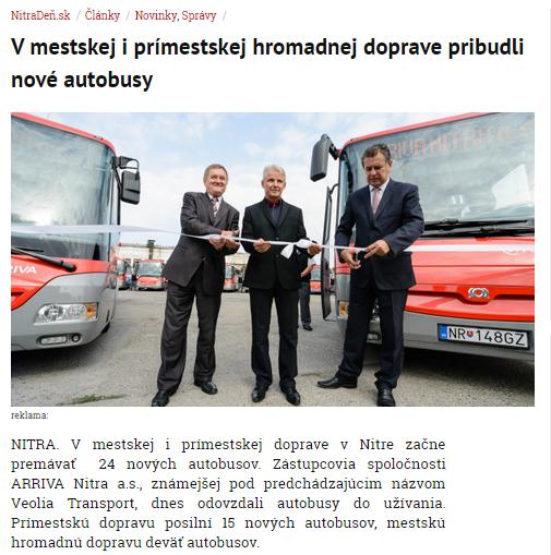 Arriva jazdí na prímestských linkách staršími karosami, ale i modernými českými vozidlami SOR, ktoré priebežne dokupuje.
