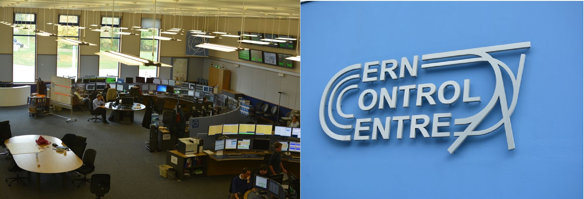 Vedci pri práci v kontrolnom centre CERNu. FOTO – Martina Hestericová, Marcel Serina