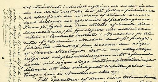 Ukážka závetu Alfreda Nobela. FOTO - nobelprize.org